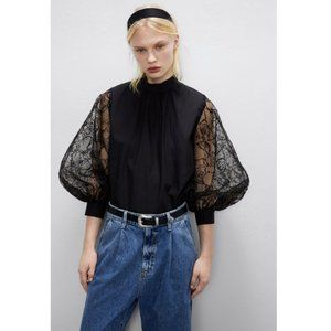 Zara Organza Sleeve Blouse Top Long Sleeve Back